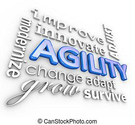 agilidad, collage, innovar, palabras, mejorar, modernize, cambio, 3d