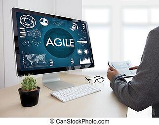 agilidad, concepto, trabajando, ágil, rápido, ágil, rápido,...