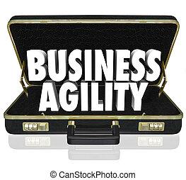agilidad, maletín, empresa / negocio, rápido, adaptación, palabras, cambio
