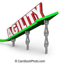 agilidad, trabajando, desafío, rápidamente, adaptar, equipo, venza