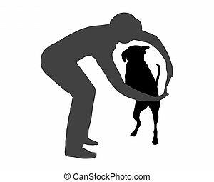 agilidade, command:, cão, salto, (obedience):, através