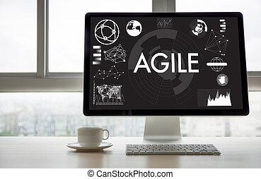 agilidade, conceito, trabalhando, ágil, rapidamente, nimble,...