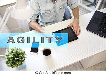 agilidade, texto, ligado, virtual, screen., tecnologia negócio, e, internet, conceito