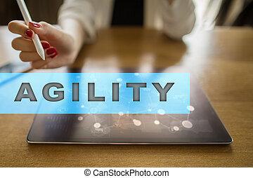 agilidade, texto, ligado, virtual, screen., tecnologia negócio, e, internet, concept.