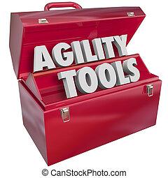 agilità, abilità, adattare, parole, toolbox, attrezzi, cambiamento