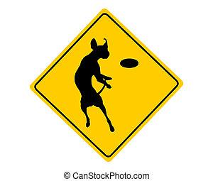 agilità, avvertimento, cane, segno