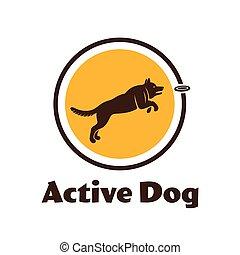 agilità, silhouette, illustration., logotype., isolato, cane, fondo., attivo, bianco, sport, tuo, design.