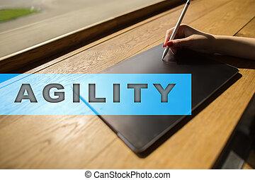 agilité, business, texte, concept., screen., virtuel, technologie internet