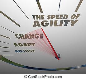 agilité, compteur vitesse, adaptation, rapide, vitesse, changement