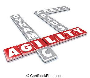 agilité, mot, dynamique, tuiles, ajuster, adapter, lettre