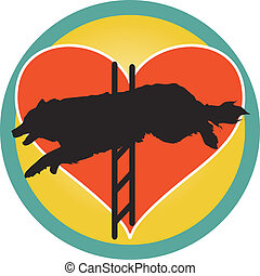 Agility Dog Heart - A silhouette of a Border Collie jumping...