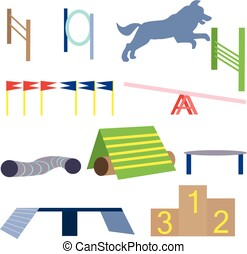 Agility dog obstacles vector. Dog sport equipment illustration.