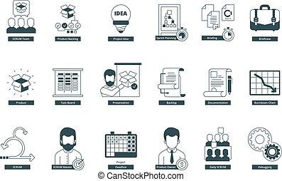 Agility icons. Scrum methodology professional meeting...