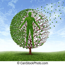 Aging and disease with a tree and leaves with branches in the shape of an old human losing foliage as a symbol of dying and suffering the loss of health due to age related illness as alzheimer and dementia or terminal cancer.