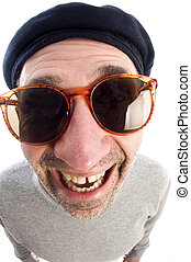 aging artist thinking distorted nose close up beret hat -...