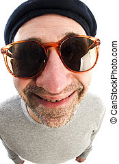 aging artist thinking distorted nose close up beret hat