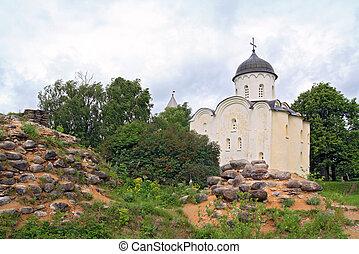 aging church amongst stone