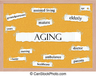 Aging Corkboard Word Concept with great terms such as...