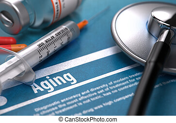 Aging. Medical Concept on Blue Background.