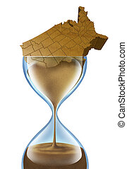 Aging Nation business concept with a population crisis that is growing older in the United States of America as a three dimensional American made of sand that is slowly going down an hour glass icon as a symbol of economic urgency to fund retirement.