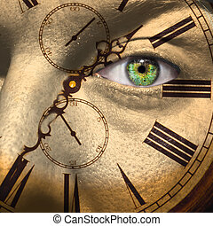 Aging or bio clock concept - Clock painted on male face to...