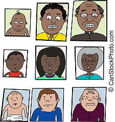 Aging Process Cartoon - Three cartoons of people in the...