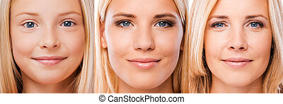 Aging process. Composition of three images with blond hair...