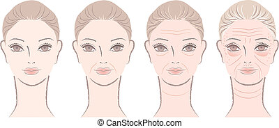 Aging process of beautiful woman - Aging process of close up...