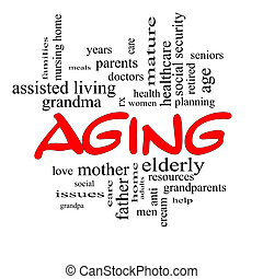 Aging Word Cloud Concept in Red Caps - Aging Word Cloud...