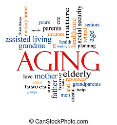 Aging Word Cloud Concept with great terms such as seniors,...