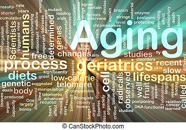 Aging word cloud glowing - Word cloud concept illustration...