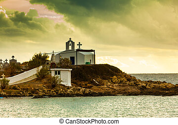 Agios Fokas at stormy weather Greece