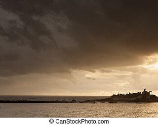 Agios Fokas at stormy weather Greece
