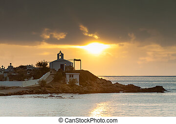 Agios Fokas Greece, sunrise at stormy weather