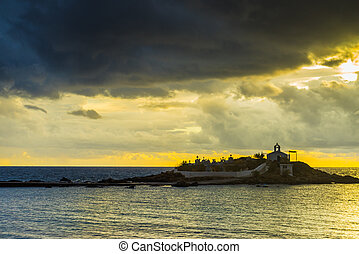 Agios Fokas Laconia Greece, sunrise at stormy weather