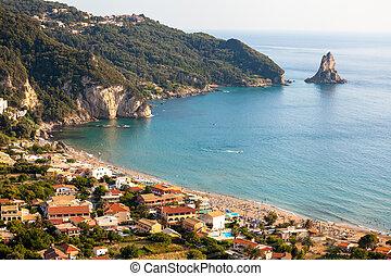Agios Gordios exotic beach in Corfu island, Greece