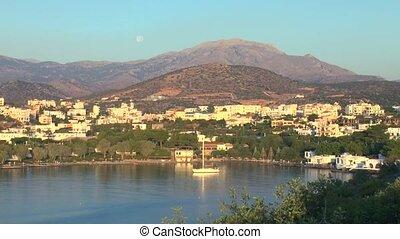 Agios Nikolaos before sunset Crete - Aerial view of city...