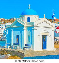 Church by the sea in Mykonos