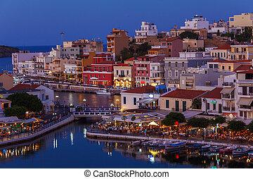 Agios Nikolaos City at Night, Crete, Greece - Agios Nikolaos...