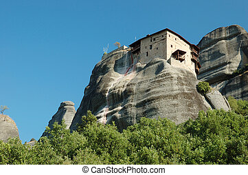 Agios Nikolaos rock monastery at Meteora, Greece, Balkans, it is one of the largest and most important complexes of Eastern Orthodox monasteries in Greece, second only to Mount Athos