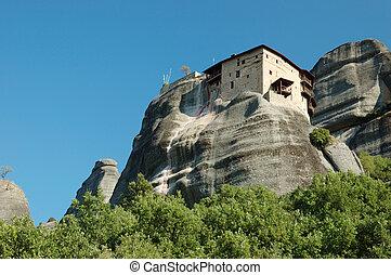 Agios Nikolaos rock monastery at Meteora,Greece,Balkans