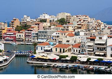 Agios Nikolaos - town and Voulismeni lake. Crete, Greece