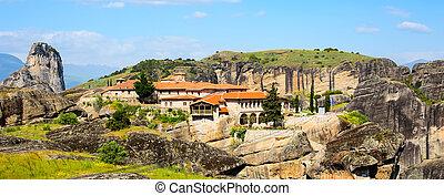 Agios Stefanos St Stefan Monastery on Meteora cliff, Greece...