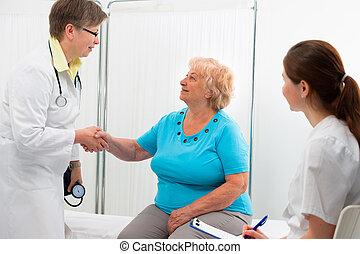 agitação, doutor, paciente, mãos
