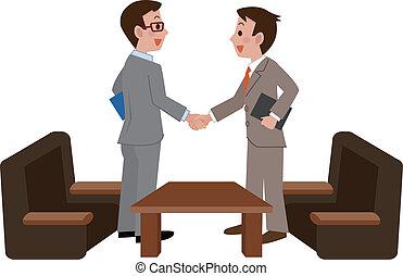 agitação, homens negócios, mãos