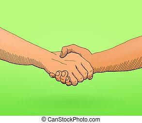 agitação, ilustração, mãos