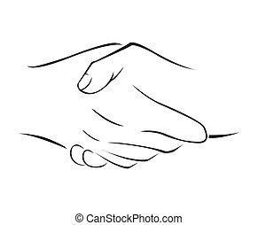 agitação mão, simples, símbolo