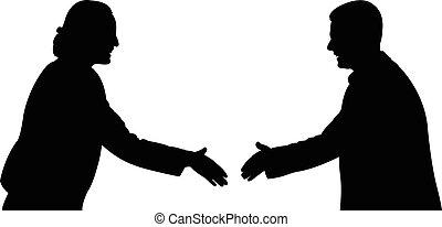 agitação, negociando, mãos