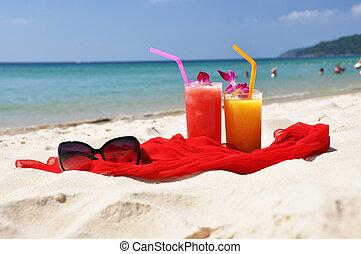 agita, mantô, fruta tropical, par, óculos de sol, praia,...