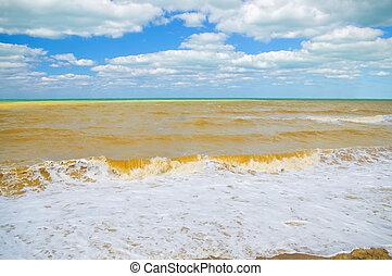 agitado, mar, em, a, dia ventoso